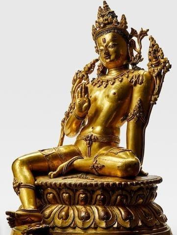 13hh/14hh Century Gilt Copper Alloy Figure Of Maitreya